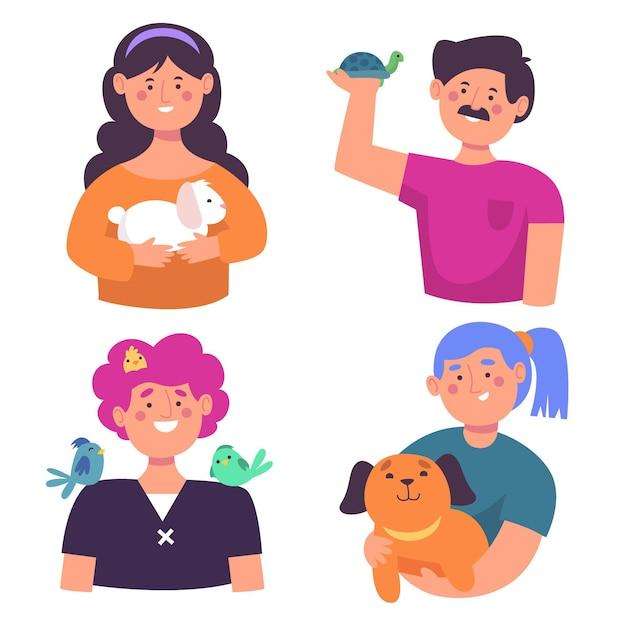 Mensen avatar met verschillende dieren Gratis Vector