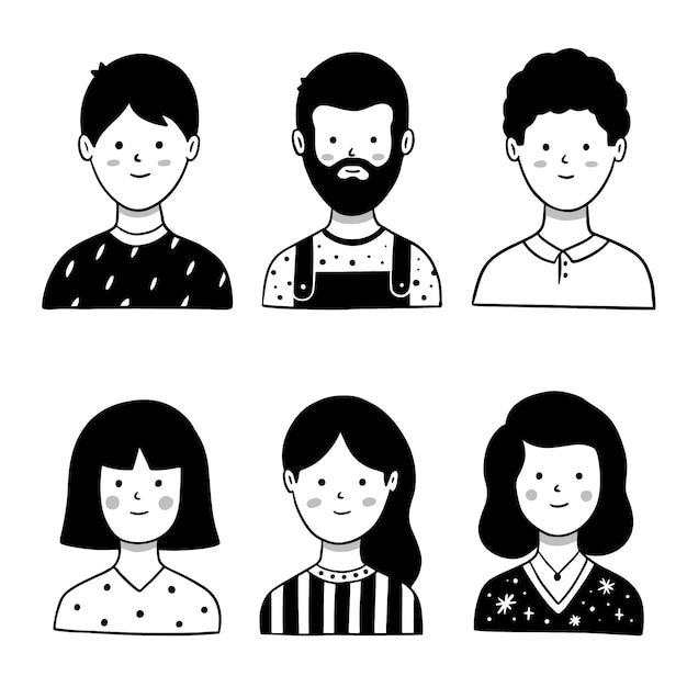 Mensen avatar ontwerp geïllustreerd Gratis Vector