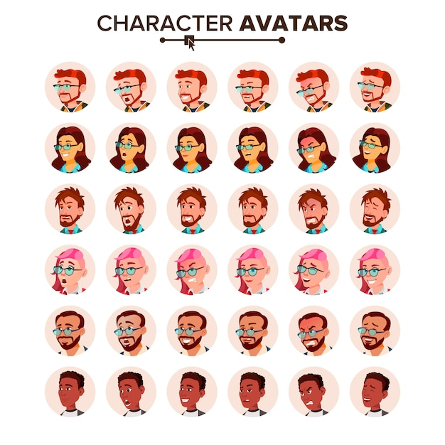 Mensen avatar set. Premium Vector