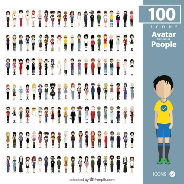 Mensen avatars collectie Gratis Vector