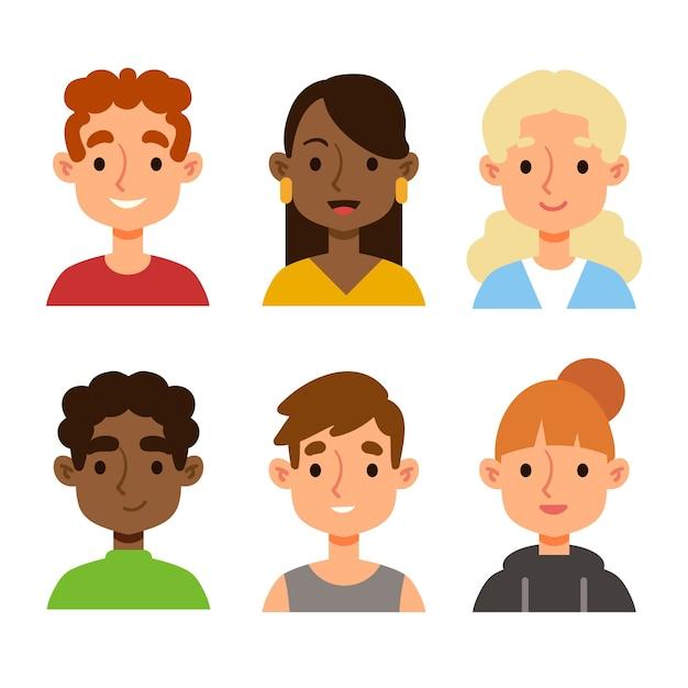 Mensen avatars geïllustreerd Gratis Vector