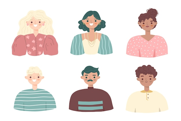 Mensen avatars illustratie collectie Gratis Vector
