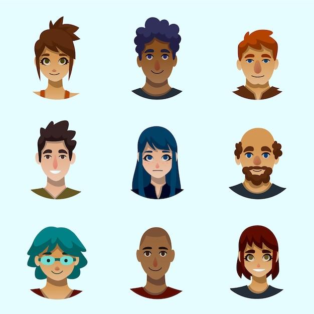 Mensen avatars illustratie Gratis Vector