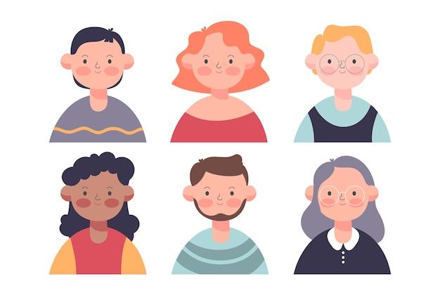 Mensen avatars kleurrijke stijl Gratis Vector