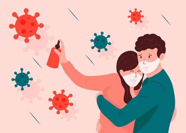 Mensen bang voor coronavirus Gratis Vector