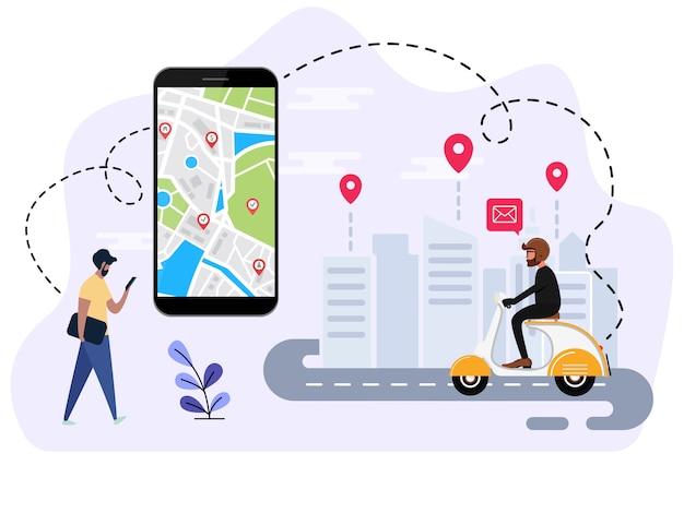 Mensen bestellen online transport Premium Vector