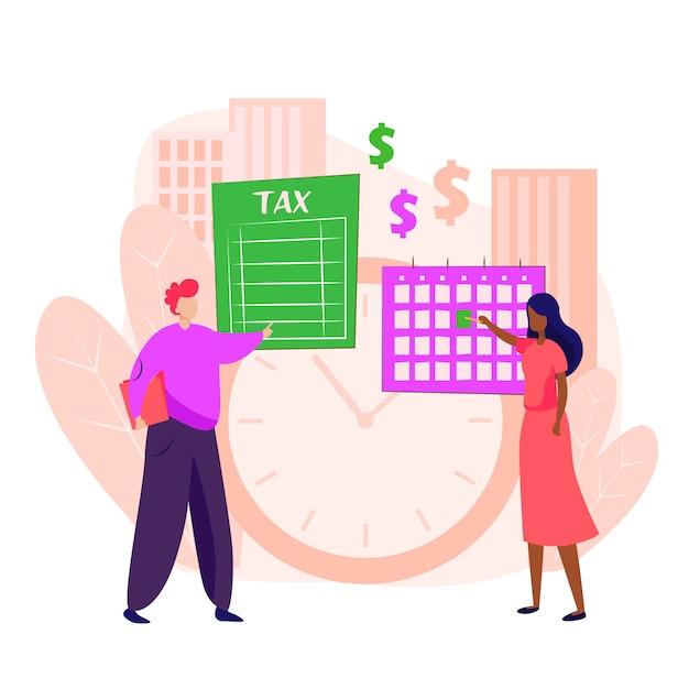 Mensen betalen bestemmingspagina voor belasting Gratis Vector