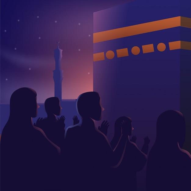 Mensen bidden voor kaaba beautiful night sky Premium Vector