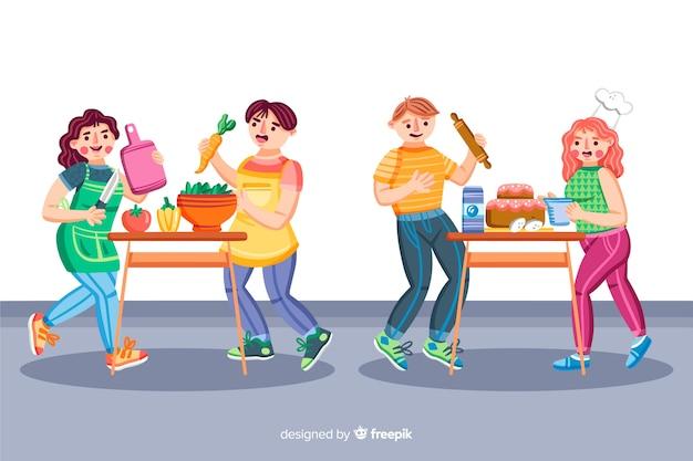 Mensen bij de keukencollectie Gratis Vector