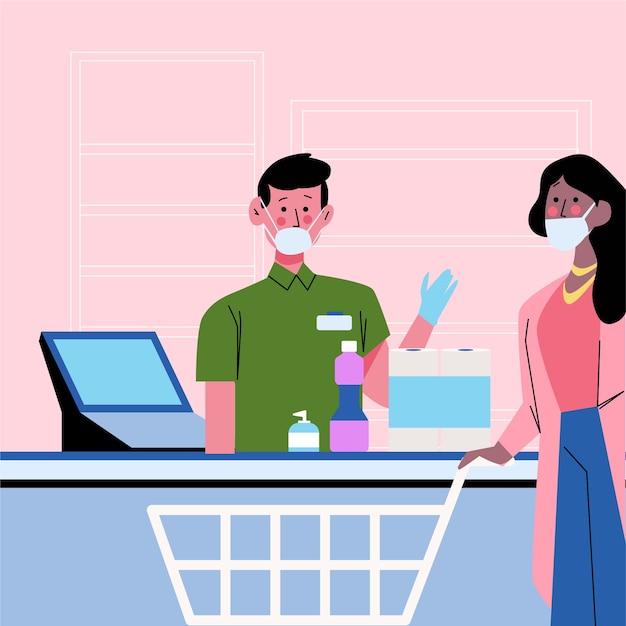 Mensen bij de supermarkt met kassier Gratis Vector