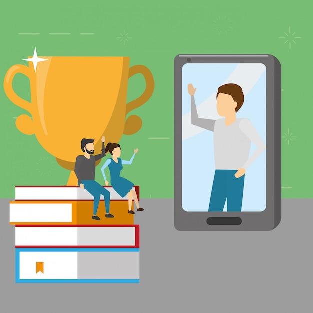 Mensen boeken mobiele trofee, vlakke stijl Gratis Vector