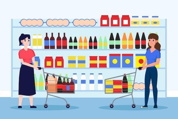 Mensen boodschappen doen in de supermarkt Gratis Vector