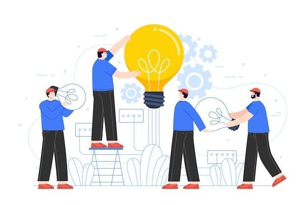 Mensen bouwen ideeën concept Gratis Vector