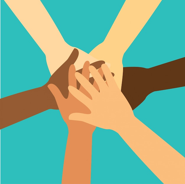 Mensen brengen hun handen samen vector Premium Vector
