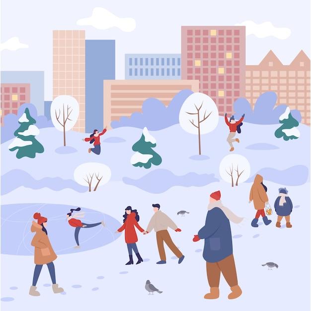 Mensen brengen in de winter tijd buiten door. mensen in warme kleren die winteractiviteiten doen. winteractiviteit in de stad met familie. Premium Vector