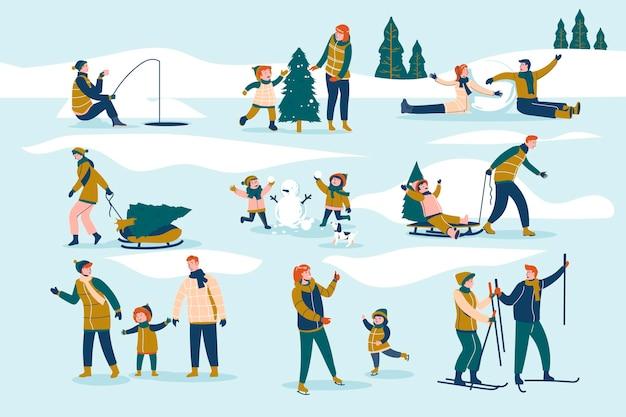 Mensen brengen in de winter tijd buiten door Gratis Vector