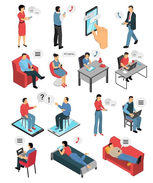Mensen chatten isometrische tekens set Gratis Vector