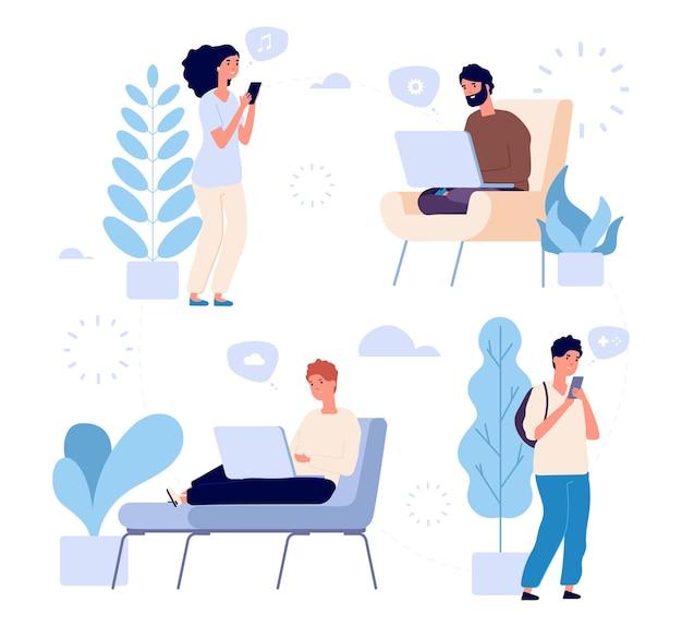 Mensen communicatie. internet chat vectorillustratie. jonge mannen en vrouwen met smartphones van gadgetslaptops. Premium Vector