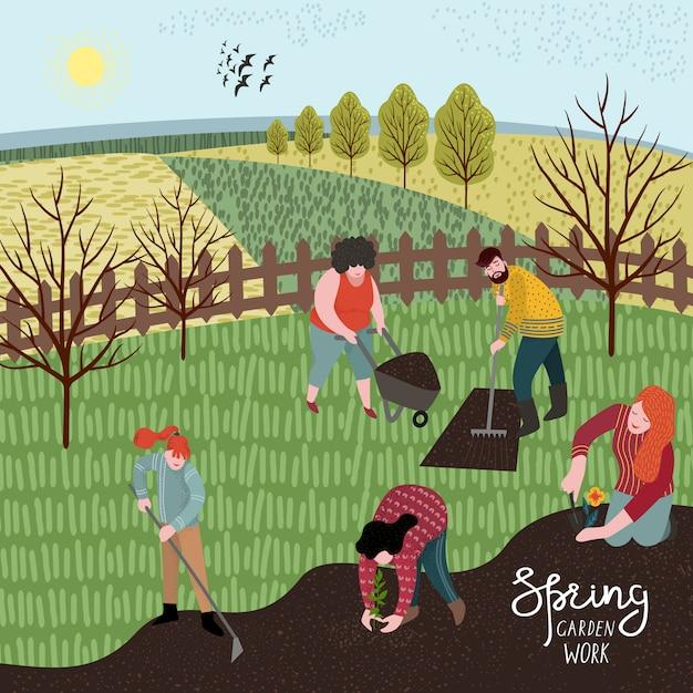 Mensen cultiveren het land met een hark en schoffel om te planten. illustratie in schattige vlakke stijl Premium Vector
