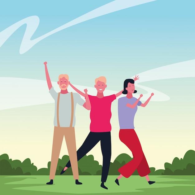 Mensen dansen en plezier maken Premium Vector