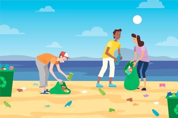 Mensen die afval op strand schoonmaken Gratis Vector