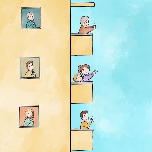 Mensen die balkonsconcept slaan Gratis Vector
