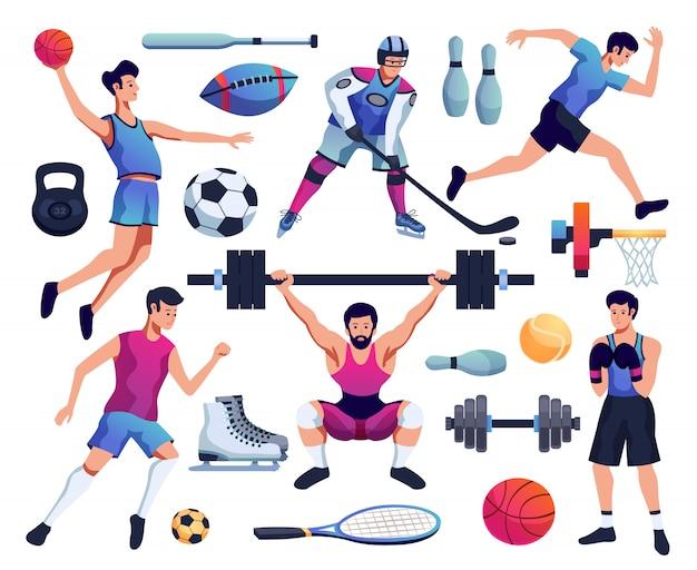Mensen die betrokken zijn bij sportset Gratis Vector