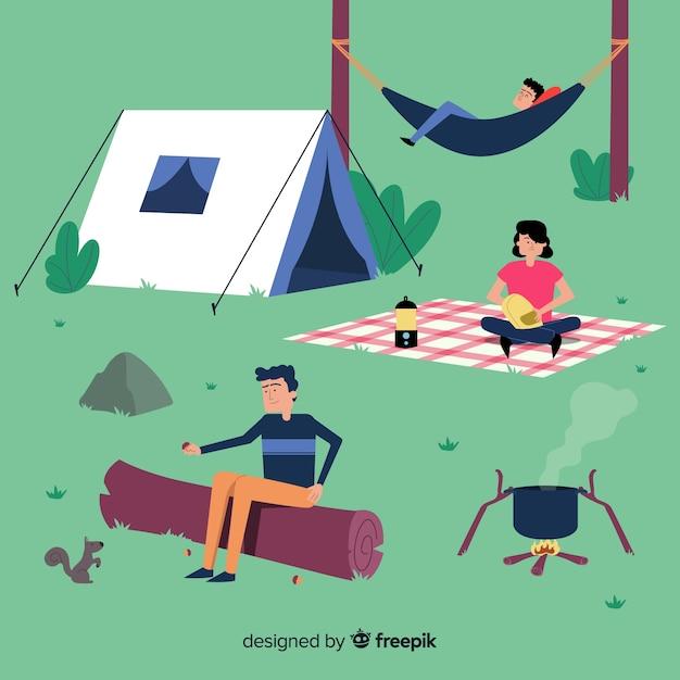 Mensen die bij de berg kamperen Gratis Vector