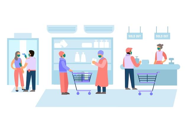 Mensen die bij de supermarktillustratie winkelen Gratis Vector