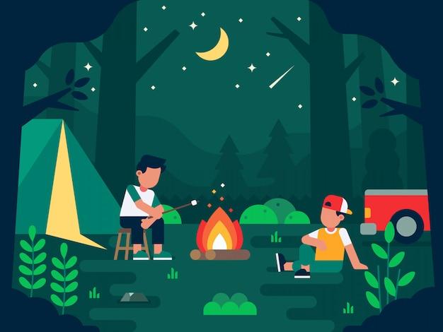 Mensen die bij nacht in het bos kamperen Premium Vector
