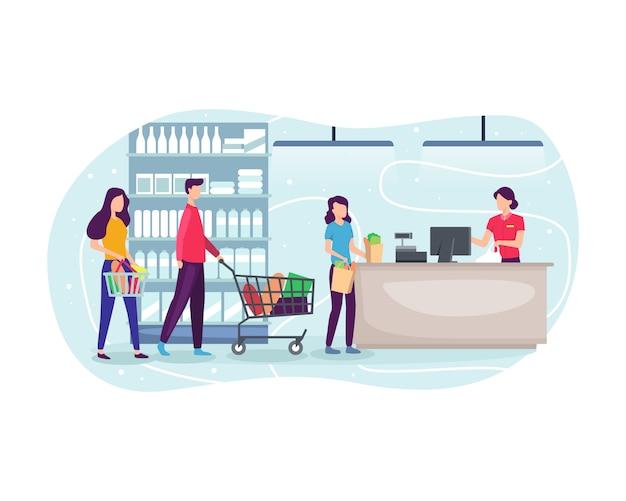 Mensen die bij supermarkt winkelen en product kopen Premium Vector