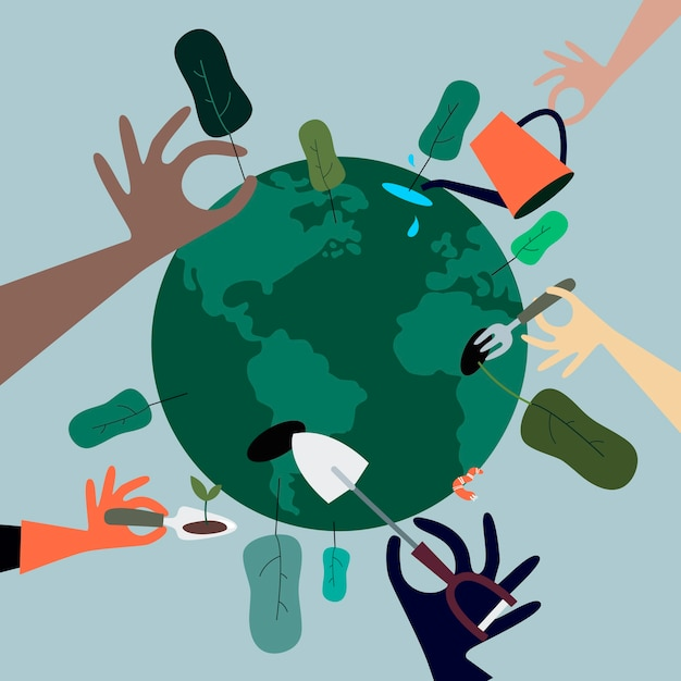 Mensen die bomen planten over de hele wereld illustratie Gratis Vector