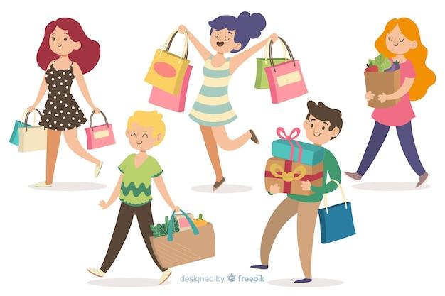 Mensen die boodschappentassen dragen Gratis Vector