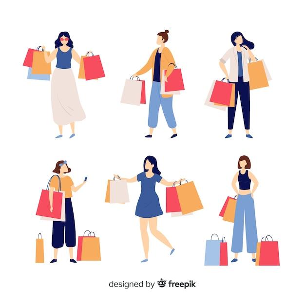 Mensen die boodschappentasseninzameling dragen Gratis Vector