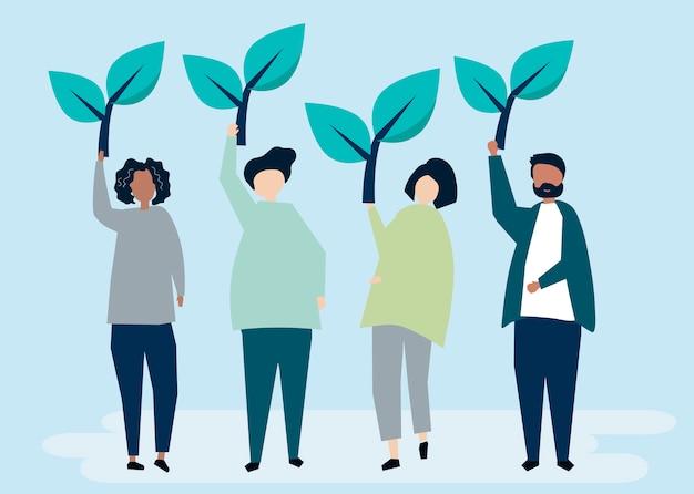 Mensen die boompictogrammen houden om milieubewustzijn op te heffen Gratis Vector