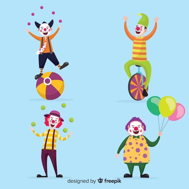 Mensen die clownskostuums dragen Gratis Vector