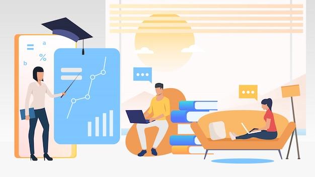 Mensen die computers gebruiken en thuis op school studeren Gratis Vector