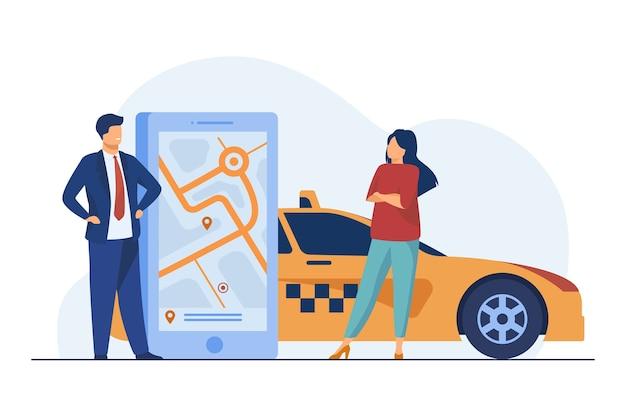 Mensen die de locatie-app gebruiken en taxi's bestellen. Gratis Vector