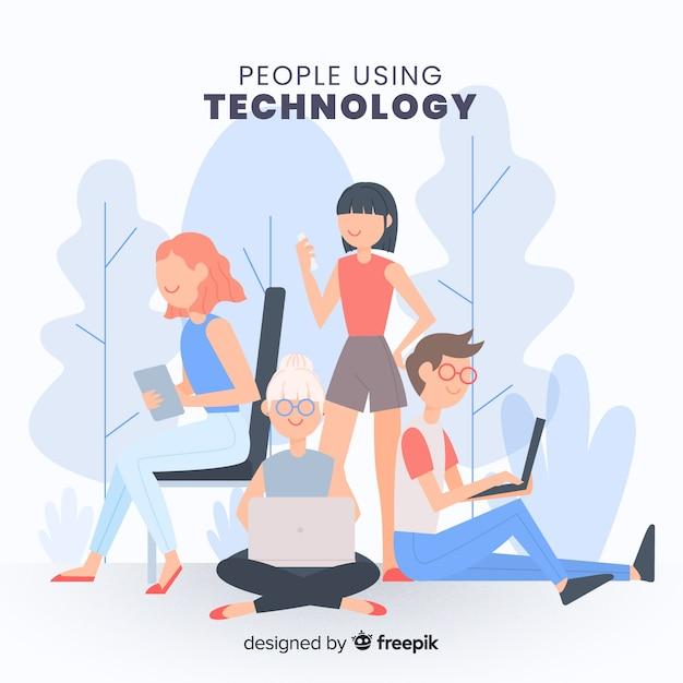Mensen die de verzameling van technologische apparaten gebruiken Gratis Vector