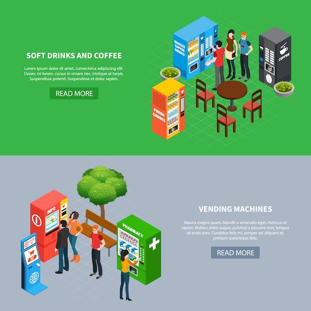 Mensen die diverse automaten en terminals horizontale isometrische banners gebruiken geplaatst 3d geïsoleerde vectorillustratie Gratis Vector