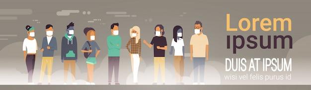 Mensen die een beschermend masker dragen voor vervuiling banner sjabloon Premium Vector
