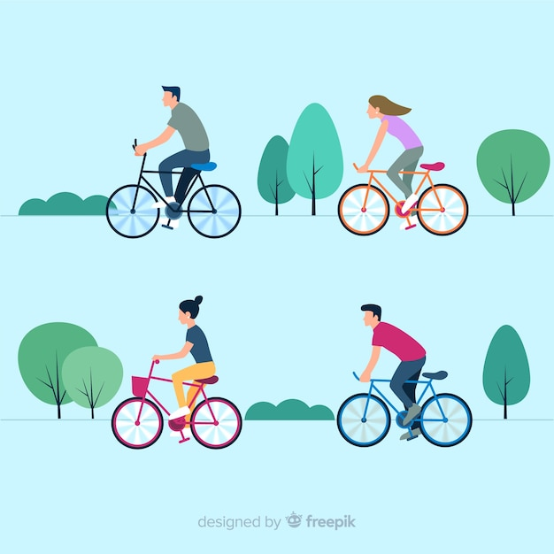 Mensen die een fiets in de parkinzameling berijden Gratis Vector