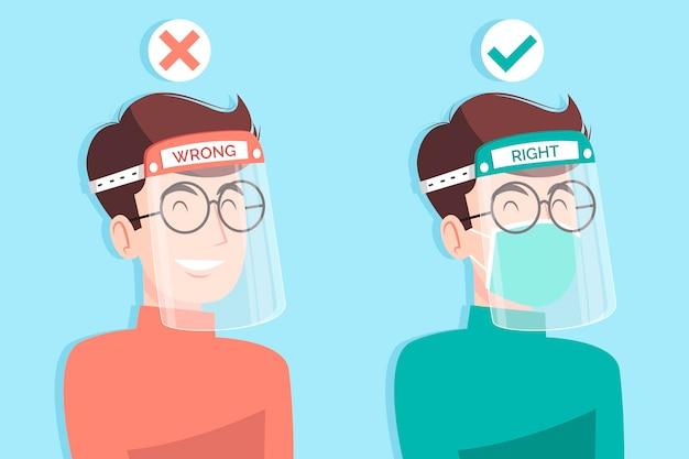 Mensen die een gelaatsscherm en masker gebruiken Gratis Vector