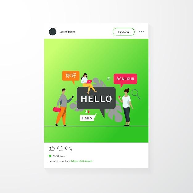 Mensen die een online vertaal-app gebruiken, vertalen woorden uit vreemde talen met een mobiele service Gratis Vector