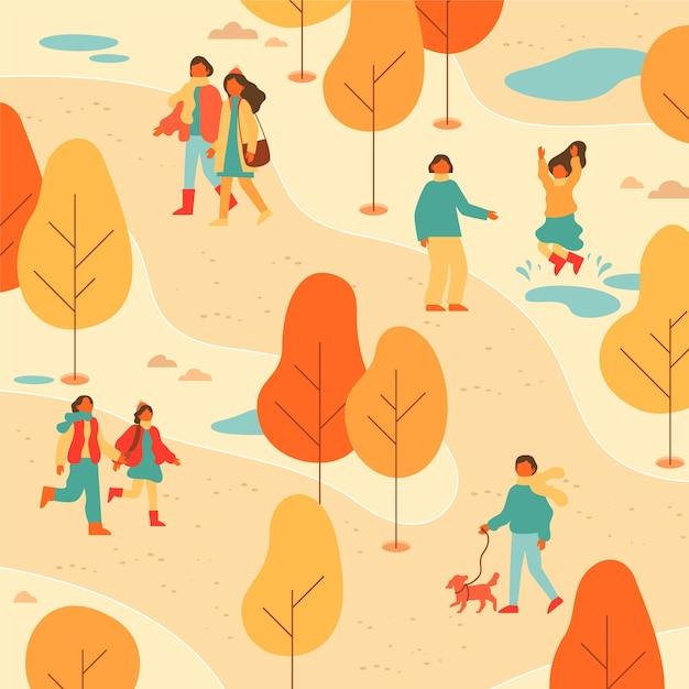 Mensen die een wandeling in het park Gratis Vector