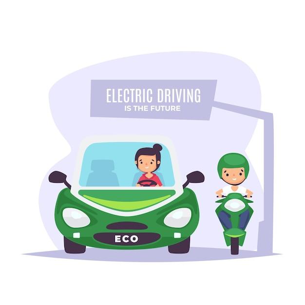 Mensen die elektrische voertuigen besturen Gratis Vector