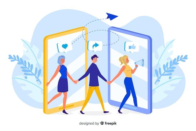 Mensen die en op het conceptenillustratie van het telefoonscherm weggaan binnengaan Gratis Vector