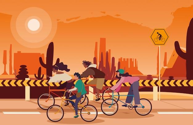 Mensen die fiets in woestijnlandschap berijden met signage voor fietser Premium Vector