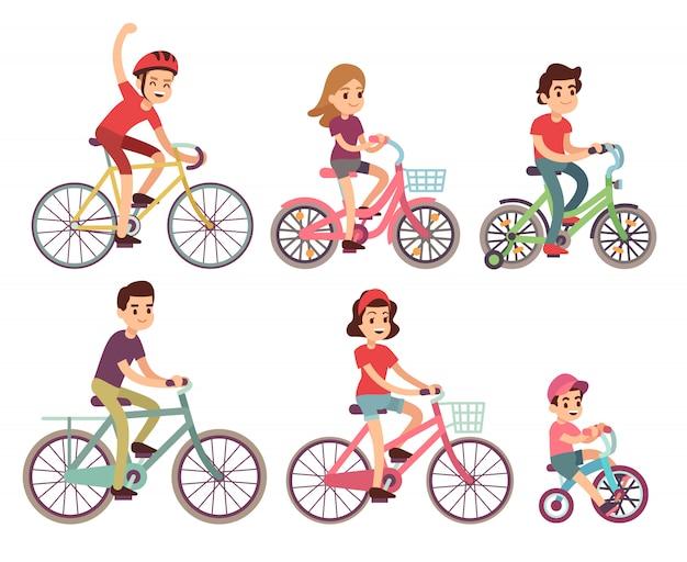 Mensen die fietsen. platte fietser op fietsen ingesteld. sport familie activiteit fiets illustratie Premium Vector