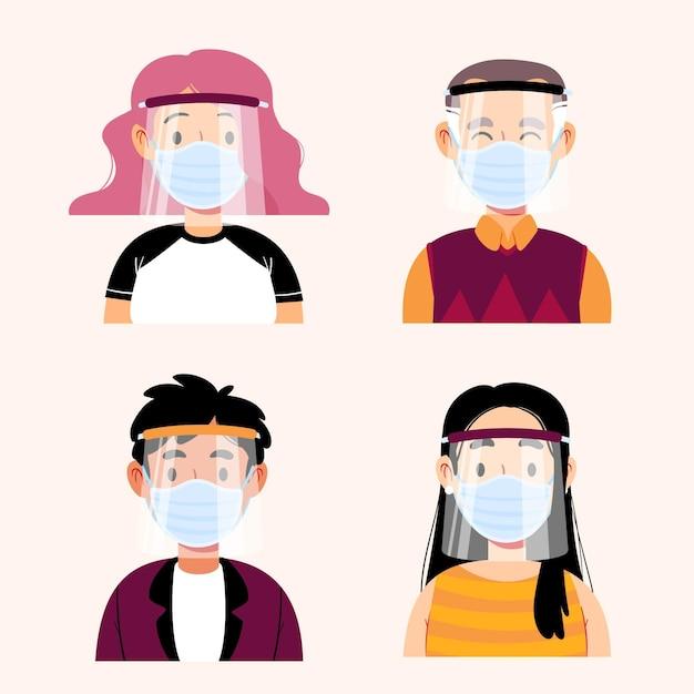 Mensen die gezichtsscherm en masker gebruiken Gratis Vector